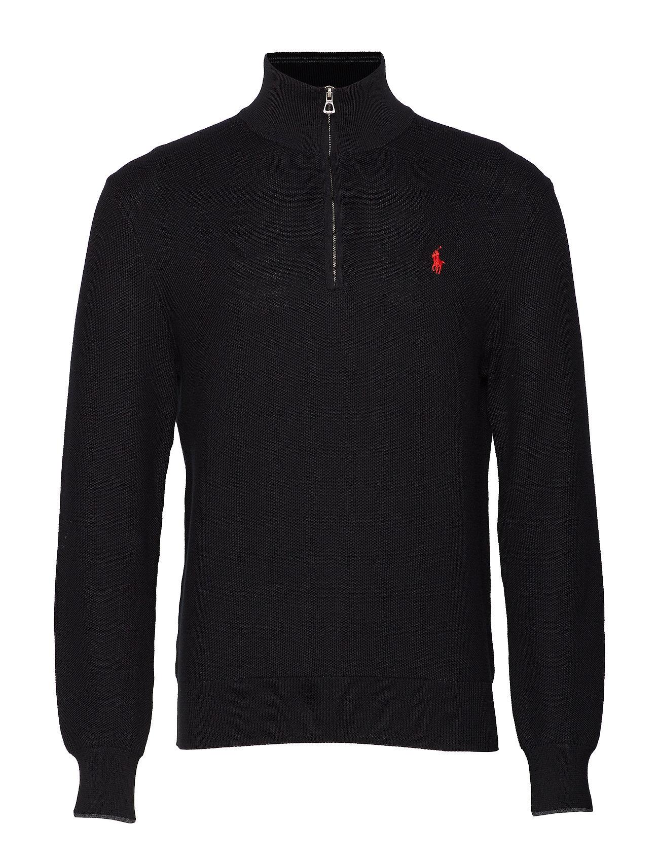 Polo Ralph Lauren Cotton Half-Zip Sweater - BLACK