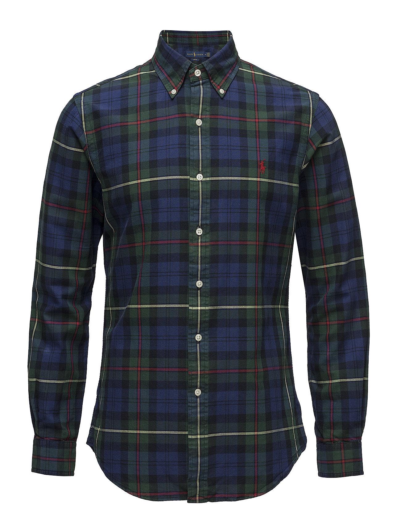 Slim Fit Plaid Oxford Shirt (2905 Navy pine Mu) (£63) - Polo Ralph ... 66eadcba0a17