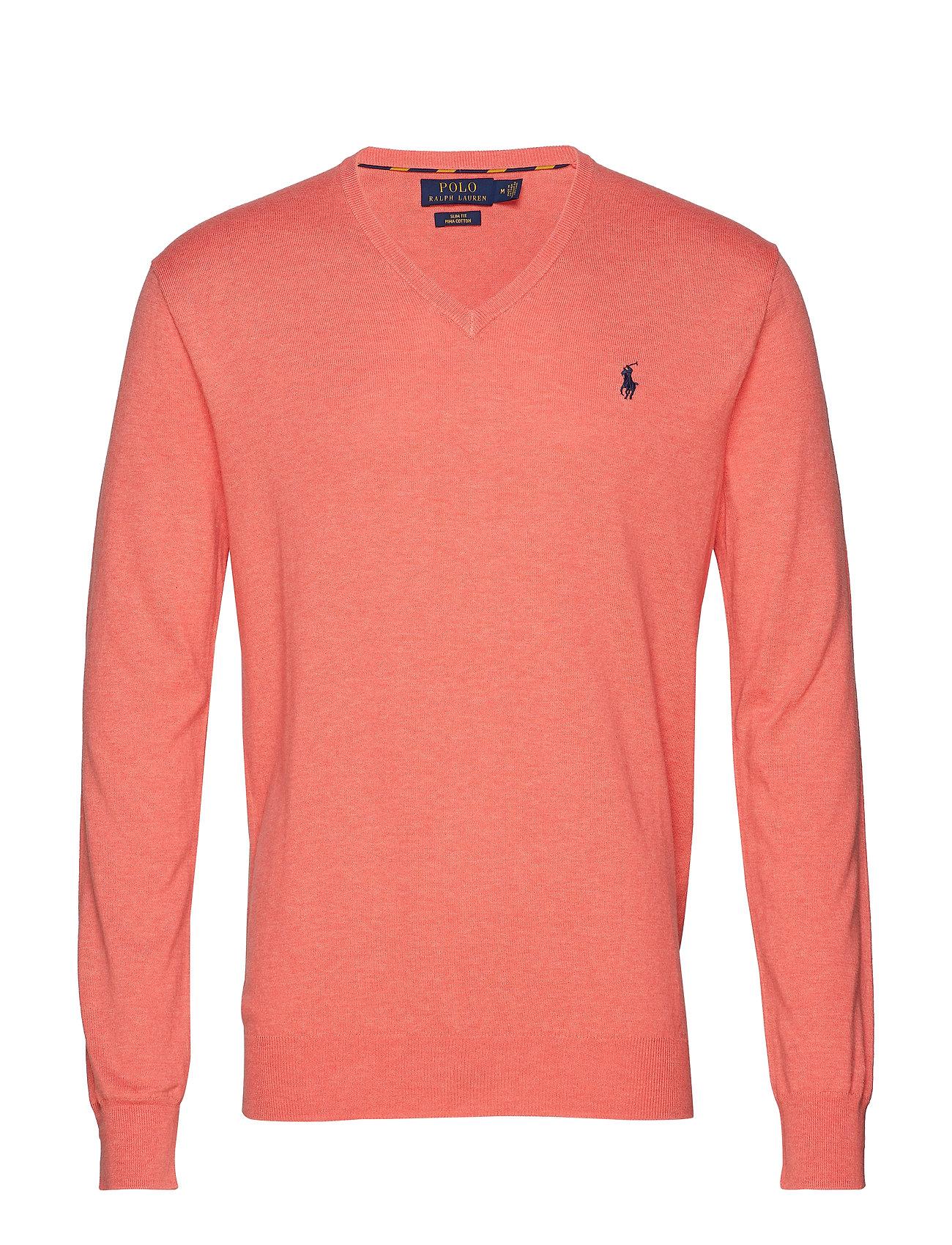 Polo Ralph Lauren Slim Fit Cotton V-Neck Sweater - DUSTY PEACH HEATH