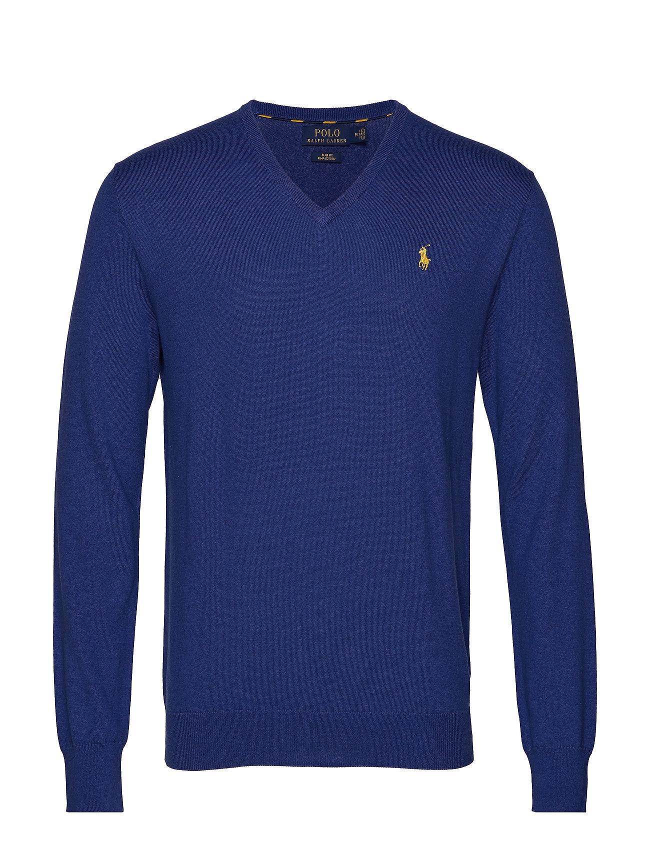 Polo Ralph Lauren Slim Fit Cotton V-Neck Sweater - YACHT BLUE HEATHE
