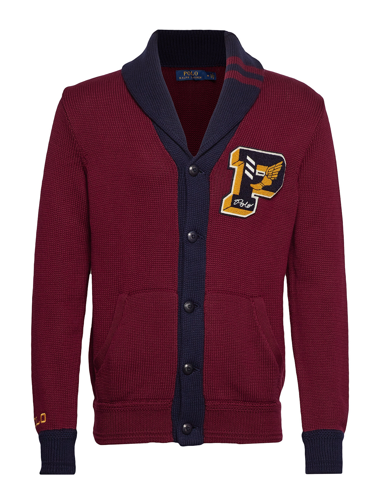 Polo Ralph Lauren Cotton Letterman Cardigan - CLASSIC WINE/NAVY