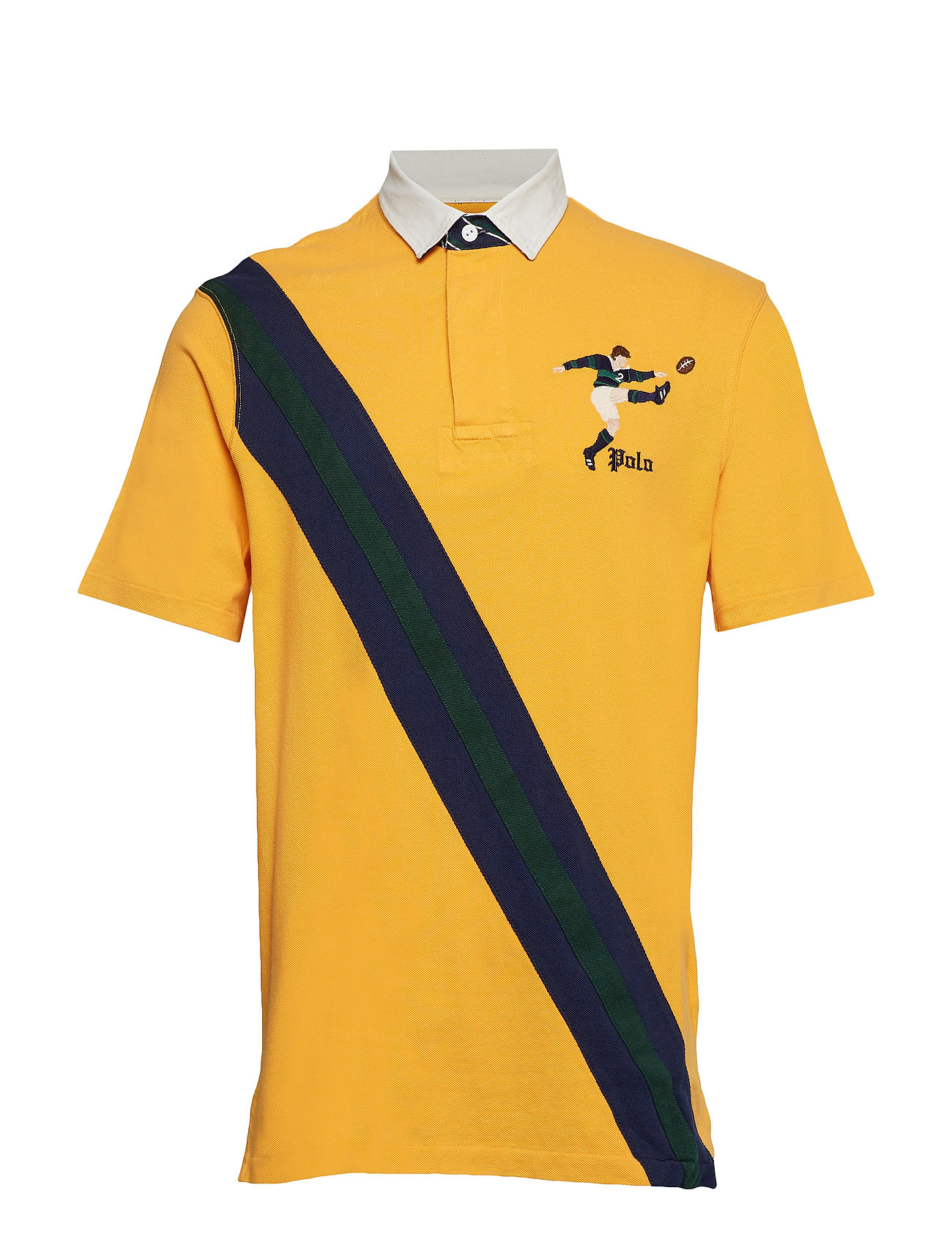 Polo Ralph Lauren Classic Fit Mesh Rugby Shirt - GOLD BUGLE MULTI