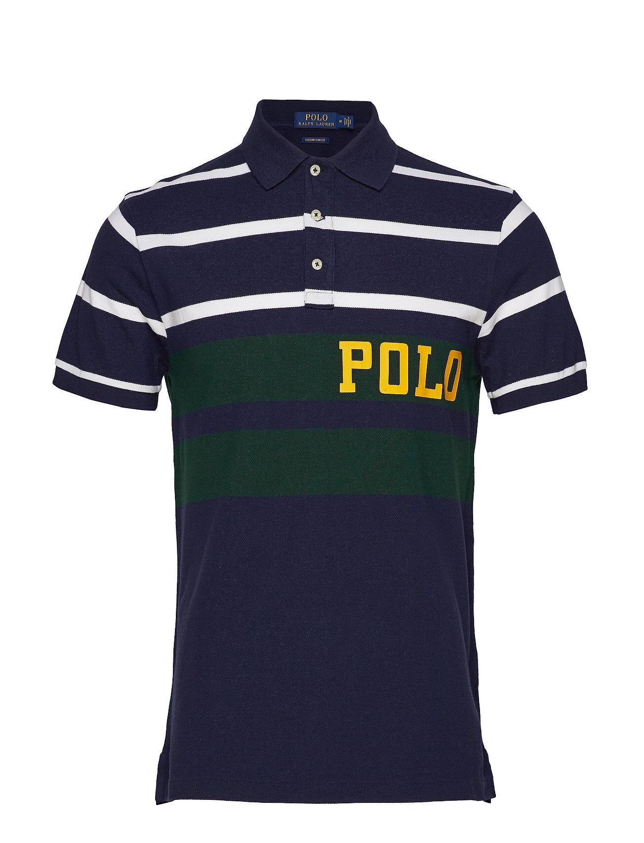 Polo Ralph Lauren Custom Slim Fit Mesh Polo - CRUISE NAVY MULTI
