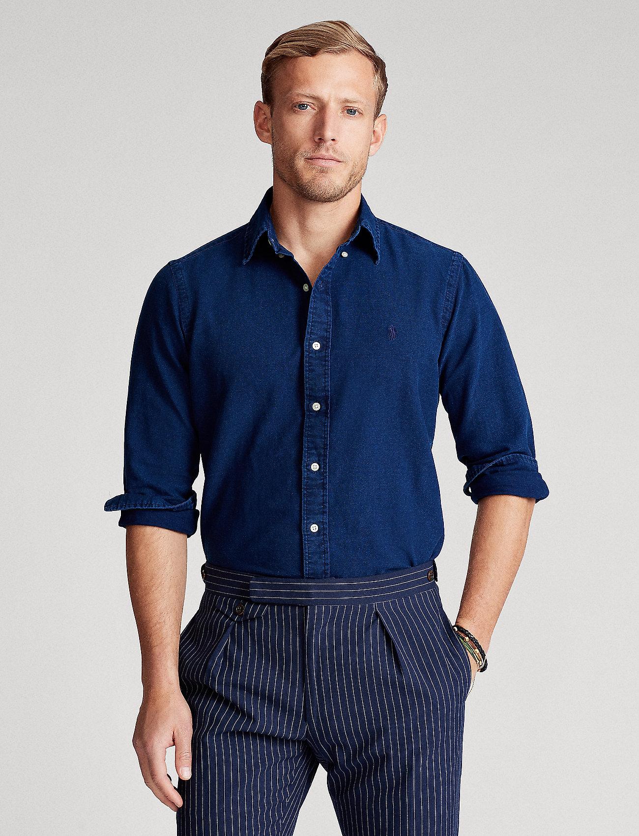 Polo Ralph Lauren - Slim Fit Indigo Oxford Shirt - basic shirts - indigo - 0