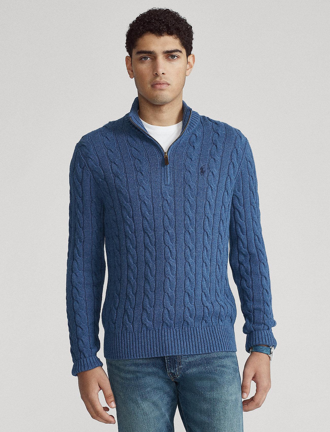 Polo Ralph Lauren - Cable-Knit Cotton Sweater - half zip - derby blue heathe - 0