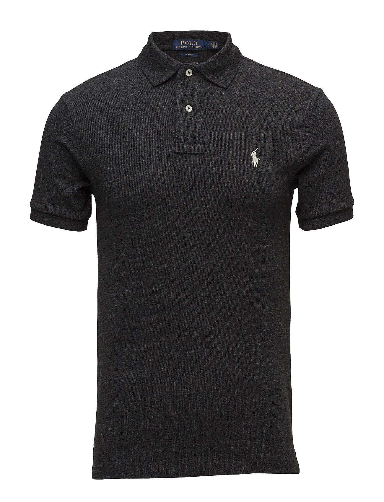 Polo Ralph Lauren Slim Fit Mesh Polo Shirt - BLACK COAL HEAT