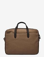 Polo Ralph Lauren - Leather-Trim Canvas Briefcase - briefcases - khaki/dark brown - 1