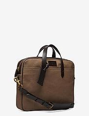 Polo Ralph Lauren - Leather-Trim Canvas Briefcase - briefcases - khaki/dark brown - 2