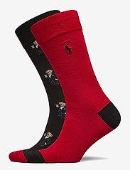 Polo Ralph Lauren - COMBED COTTON-TUX BEAR SCK-CRW-2PK - regular socks - polo blk/prk aven - 0
