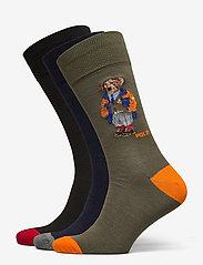 Polo Ralph Lauren - COMBED COTTON-3 BEAR CREW-GIFT BOX - regular socks - asst 991 - 0