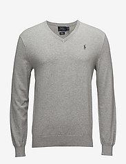 Polo Ralph Lauren - Slim Fit Cotton V-Neck Sweater - perusneuleet - andover heather - 0