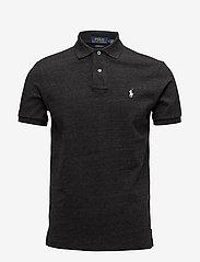 Custom Slim Fit Mesh Polo Shirt - BLACK MARL HEATHE