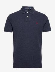 Custom Slim Fit Mesh Polo Shirt - MEDIEVAL BLUE HEA