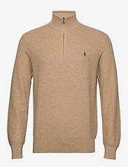 Cotton Half-Zip Sweater - CAMEL MELANGE