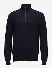 Cotton Half-Zip Sweater - NAVY HEATHER