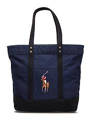 Canvas Big Pony Tote Bag - NAVY/BLACK