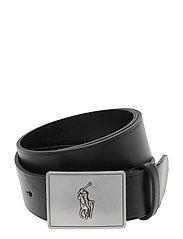 Pony Plaque Leather Belt - BLACK