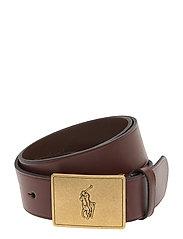 Pony Plaque Leather Belt - BROWN