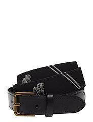 Dog-Overlay Webbed Belt - BLACK