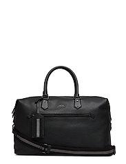 Pebbled Leather Duffel Bag - BLACK