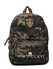 Crest-Patch Camo Canvas Backpack - CAMO