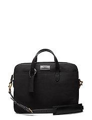 Leather-Trim Canvas Briefcase - BLACK/BLACK