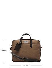 Polo Ralph Lauren - Leather-Trim Canvas Briefcase - briefcases - khaki/dark brown - 5