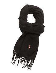 Fringed Wool Scarf - BLACK