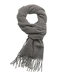Fringed Wool Scarf - FAWN GREY HTHR