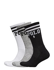 Logo Crew Sock 3-Pack - WHITE / GREY / BL