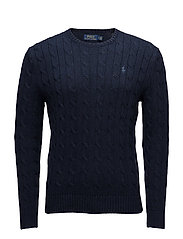 Cable-Knit Cotton Sweater - WORTH NAVY HEATHE