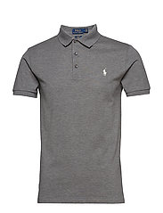 Slim Fit Stretch Mesh Polo - BOULDER GREY HEAT