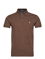 Slim Fit Stretch Mesh Polo - MOHICAN BROWN