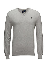 Slim Fit Cotton V-Neck Sweater - ANDOVER HEATHER