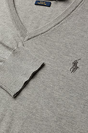 Polo Ralph Lauren - Slim Fit Cotton V-Neck Sweater - perusneuleet - andover heather - 1