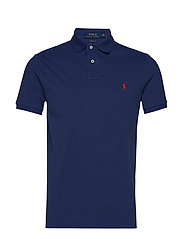 Custom Slim Fit Mesh Polo - LIGHT NAVY/RED PP