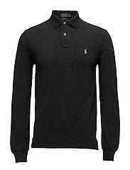 Slim Fit Mesh Long-Sleeve Polo - POLO BLACK