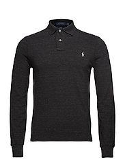 Slim Fit Mesh Long-Sleeve Polo - BLACK MARL HEATHE