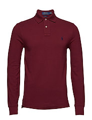 Slim Fit Mesh Long-Sleeve Polo - CLASSIC WINE