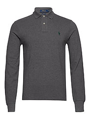 Slim Fit Mesh Long-Sleeve Polo - MEDIUM FLANNEL HE