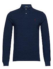 Slim Fit Mesh Long-Sleeve Polo - MONROE BLUE HEATH