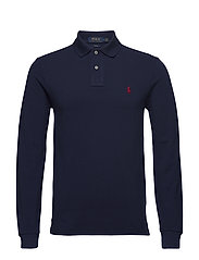 Slim Fit Mesh Long-Sleeve Polo - NEWPORT NAVY/C387