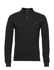 Slim Fit Mesh Long-Sleeve Polo - POLO BLACK/C3870