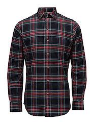 Slim Fit Plaid Cotton Shirt - 2100 BLACK/ROSE R