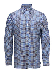 Classic Fit Plaid Linen Shirt - 2198 MULTI BLUE/WHITE