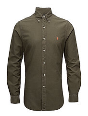 Slim Fit Cotton Oxford Shirt - SERVICE GREEN