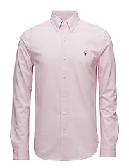 Classic Fit Knit Oxford Shirt - CARMEL PINK/WHITE