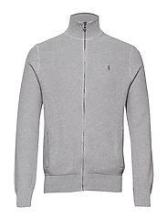 Cotton Full-Zip Sweater - ANDOVER HEATHER