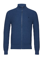 Cotton Full-Zip Sweater - INDIGO HEATHER