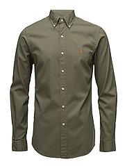 Slim Fit Cotton Twill Shirt - MOUNTAIN GREEN